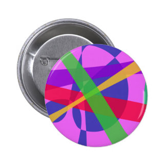 Crossing Lines Primitive Abstract Art 2 Inch Round Button