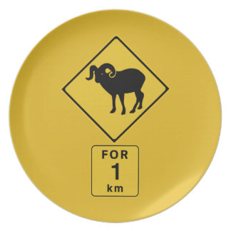 Crossing Mountain Goats (2), Traffic Sign, Canada Dinner Plate