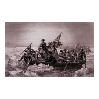 Crossing the Delaware engraving Poster