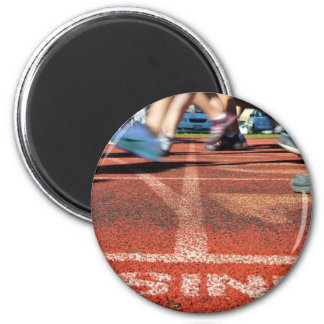 Crossing the Finish Line - Accomplishment or Runne 2 Inch Round Magnet