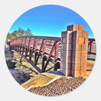 Crossing Urban Bridge Under Vibrant Blue Sky Classic Round Sticker