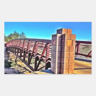 Crossing Urban Bridge Under Vibrant Blue Sky Rectangular Sticker
