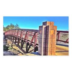 Crossing Urban Bridge Under Vibrant Blue Sky Rectangle Sticker