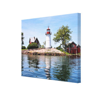 Crossover Island Lighthouse, NY Wrapped Canvas