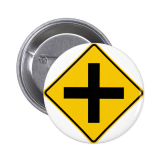 Crossroad Intersection Highway Sign 2 Inch Round Button