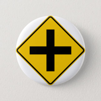 Crossroad Intersection Highway Sign Button