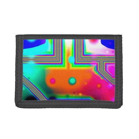 Crossroads of Awakening, Abstract Rainbow Doorway Trifold Wallet