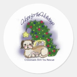 Crossroads Shih Tzu Rescue Hope For the Holidays Classic Round Sticker