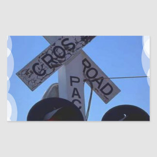 Crossroads signals on the train tracks USA Rectangular Sticker