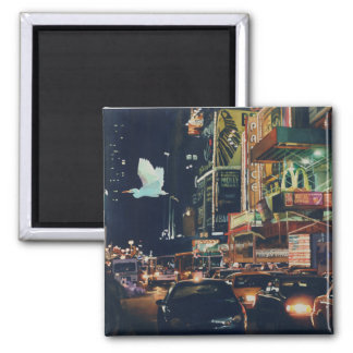 """Crosstown Traffic"" New York Watercolor Art 2 Inch Square Magnet"