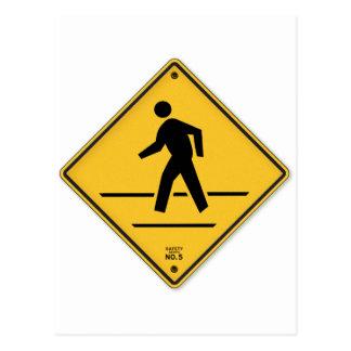 Crosswalk Sign Walk Don't Run Safety Walk Sign Postcard