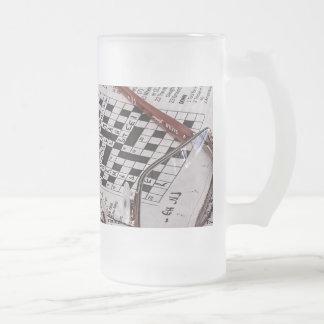Crossword Genius Frosted Glass Beer Mug