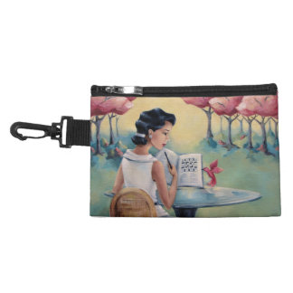 Crossword Girl & Bird Clip-On Accessory Bag