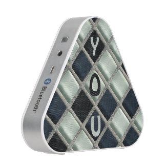 Crossword Look Glass Blocks Custom Initials Bluetooth Speaker