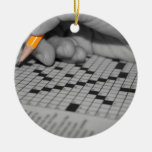 Crossword Puzzle Double-Sided Ceramic Round Christmas Ornament