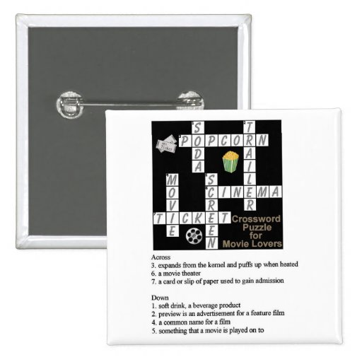 Crossword Puzzle for Movie Lovers Button