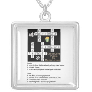 Crossword Puzzle for Movie Lovers Necklace