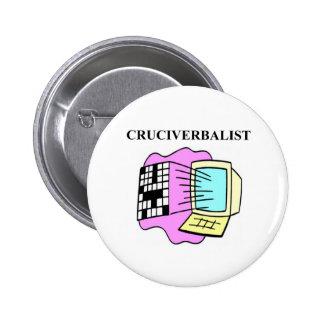 crossword puzzle lover pinback button