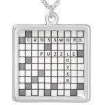 Crossword Puzzle Lover Square Pendant Necklace