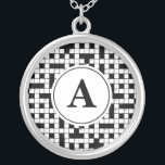 """Crossword Puzzle Monogram Silver Plated Necklace<br><div class=""""desc"""">crossword puzzle monogram initial This is a wonderful gift idea for someone special, for a special celebration, a birthday party, Christmas present or any gift giving occasion. This unique gift can be customized to fit your needs. Images can be added, changed or moved. Text can be changed to a different...</div>"""