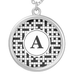 Crossword Puzzle Monogram Silver Plated Necklace