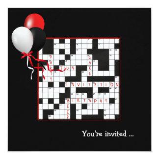 """Crossword Puzzle Party Invite 5.25"""" Square Invitation Card"""