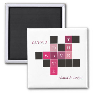 Crossword Puzzle Wedding Save the Date 2 Inch Square Magnet