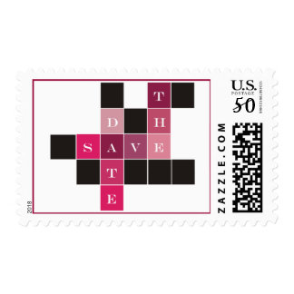 Crossword Puzzle Wedding Save the Date Postage
