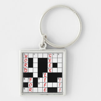 Crossword Puzzle Word Geek For Life Keychain