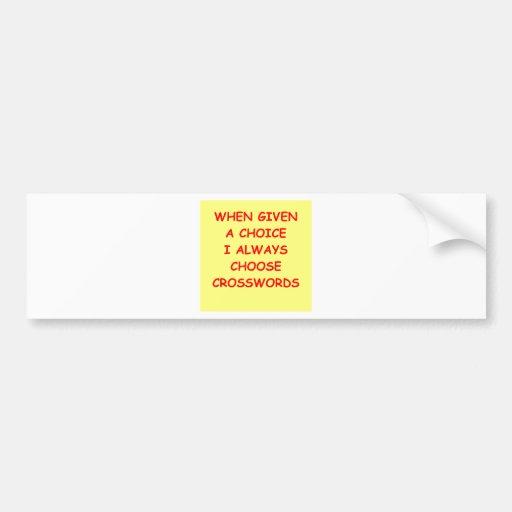 crossword puzzles bumper stickers