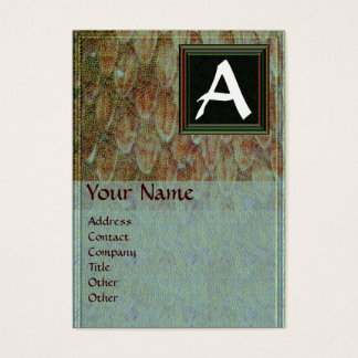 CROTALUS/GREY BROWN SNAKESKIN SQUARE MONOGRAM BUSINESS CARD
