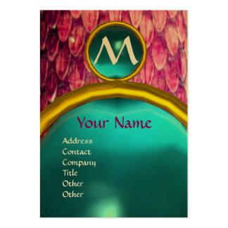 CROTALUS MONOGRAM AQUAMARINE,bright bold pink blue Large Business Card