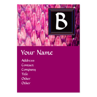 CROTALUS MONOGRAM,bright bold black pink purple Large Business Card
