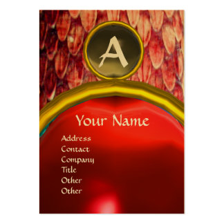 CROTALUS MONOGRAM RUBY AGATA,bright bold red grey Large Business Card