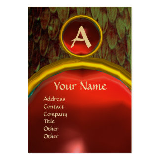 CROTALUS MONOGRAM TOPAZ ,bright red grey Large Business Card