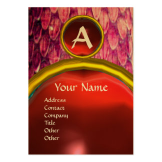 CROTALUS MONOGRAM TOPAZ ,bright red Large Business Card