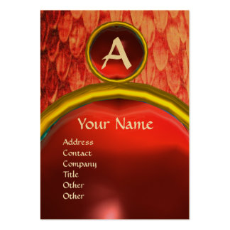 CROTALUS MONOGRAM TOPAZ ,bright red pink Large Business Card