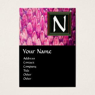 CROTALUS /PINK SNAKESKIN BLACK SQUARE MONOGRAM BUSINESS CARD