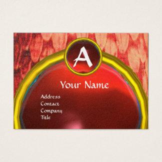CROTALUS/SNAKE SKIN,RED RUBY GEM MONOGRAM Gold Business Card