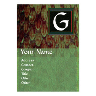 CROTALUS SQUARE  MONOGRAM, bold brown black green Large Business Card