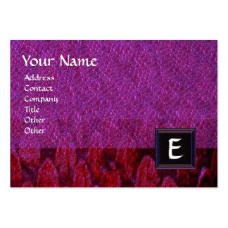 CROTALUS SQUARE MONOGRAM,bold purple black red Large Business Card