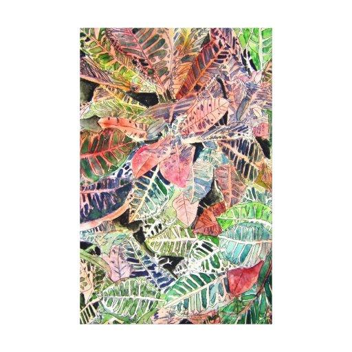 croton tropical botanical art beach prints canvas print