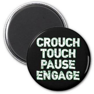 Crouch Touch Pause Engage Rugby Tees 2 Inch Round Magnet