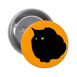 Crouching  Black Cat on Orange Button