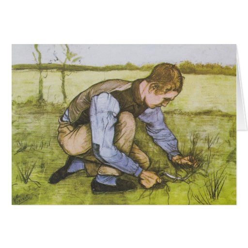 Crouching boy with sickle cards