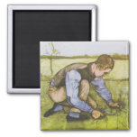Crouching boy with sickle fridge magnets