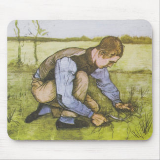 Crouching boy with sickle mouse pad