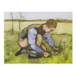 Crouching boy with sickle post card