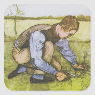 Crouching boy with sickle square sticker