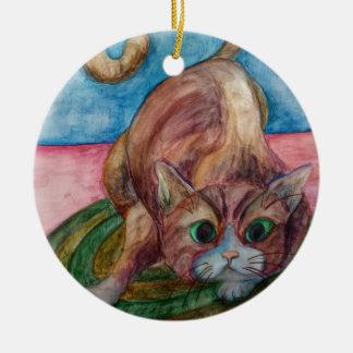 crouching cat ceramic ornament